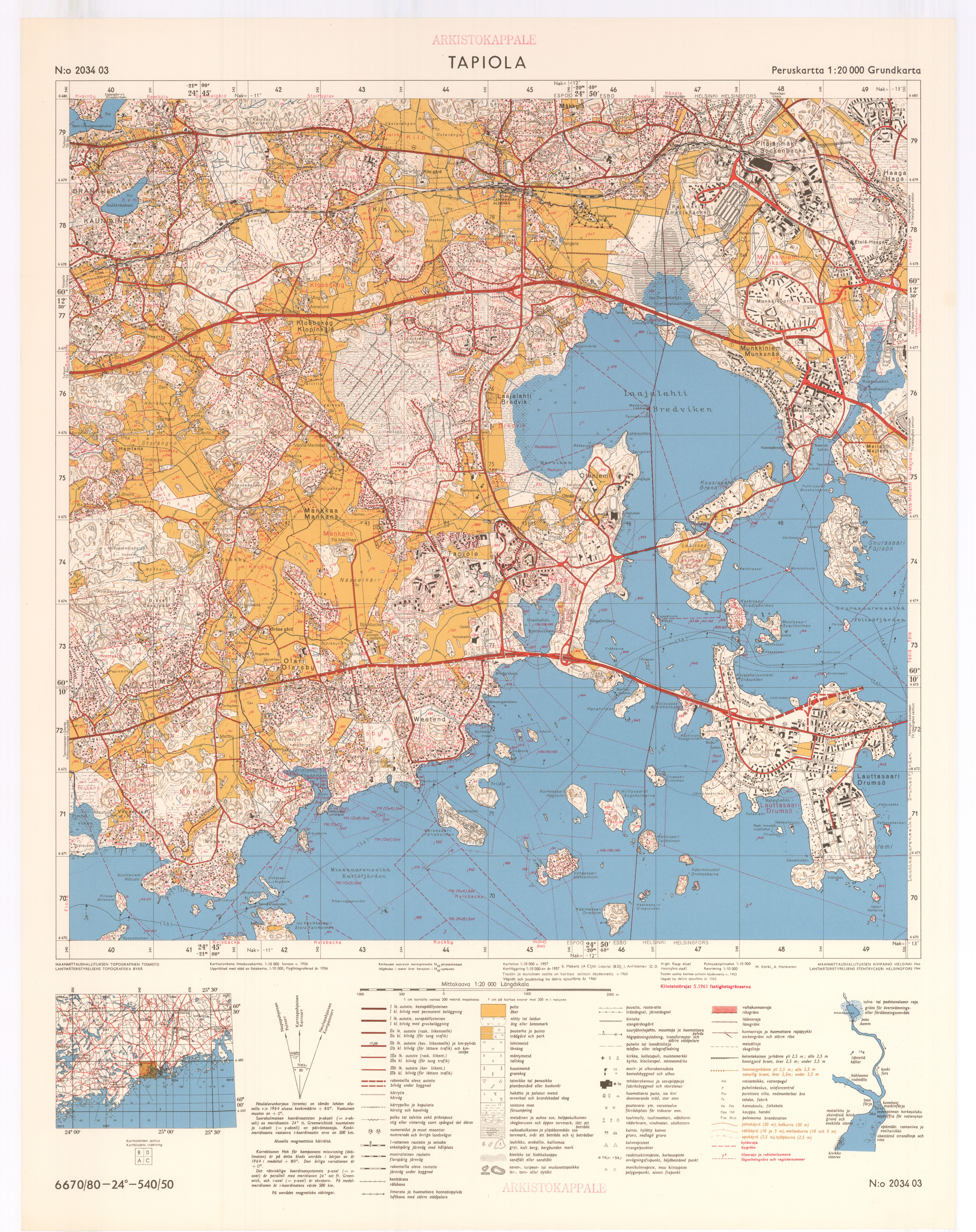 Tutustu Vanhoihin Karttoihin Talta Tapiolan Alue Naytti 1960